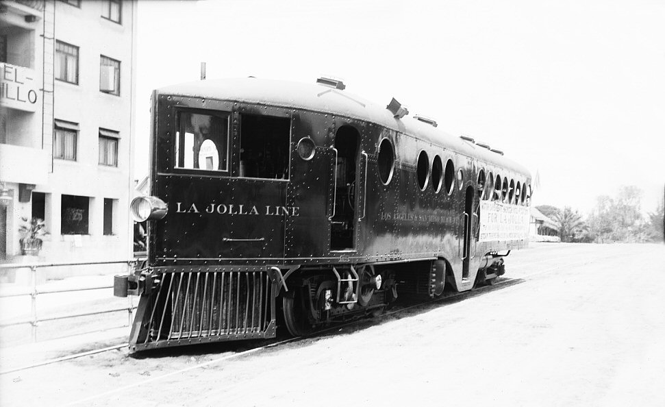 McKeen Motor Car on the Los Angeles San Diego and Beach Railway next to the Hotel Cabrillo
